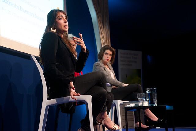 Ramita Navai and Alev Scott on stage at the Edinburgh International Book Festival
