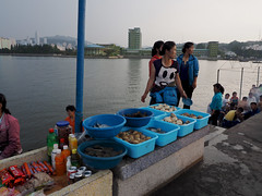 Wonsan, DPRK (Clay Gilliland) Tags: sunset evening fishing fisherman tour north korea northkorea dprk wonson northkoreatour tongmyonghotel chokisletpier dprktour