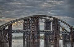 Bridge in Kyiv. Ukraine (HDR) (Oleh Khavroniuk (Khavronyuk)) Tags: city bridge sky industry clouds river landscape photo nikon industrial ukraine kiev kyiv hdr d5100