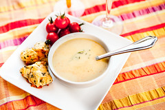 Spicy Corn Soup (Culinary Fool) Tags: red summer yellow dinner tomato recipe lunch soup corn stripes spoon vegetable biscuit brunch scone sept herb bobbyflay 2014 culinaryfool 2470mm28 brendajpederson