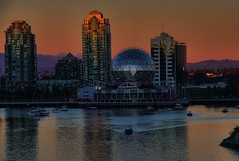 Vancouver - Science World (beyondhue) Tags: world sunset summer vancouver landscape boat science beyondhue