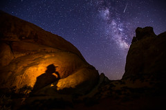 Contemplation (howardignatius) Tags: valleyoffire night photography cowboy nevada campfire meteor milkyway whitedome