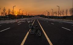 All alone in a new city (Ricky Reardon) Tags: road sunset mountain bicycle highway solitude alone empty southkorea eery newcity gyeonggido nocars hwaseongsi