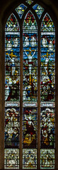 Stained glass window, St Michael's church, Ledbury, Herefordshire (Jules & Jenny) Tags: stainedglasswindow ledbury kempe stmichaelschurch