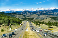 View from Genesee Mountain on Interstate 70 (photographyguy) Tags: colorado geneseemountain rockymountains rockies mountain snow vista interstate70 i70 cars median hill roadsigns sky traffic jeffco jeffersoncounty trees evergreens downhill scenic automobiles continentaldivide snowcapped