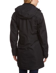Woman in Jack Wolfskin black Ottawa Coat back (ShinyNylonFan) Tags: hood jackwolfskin coat waterproof outdoorjacket mycollection