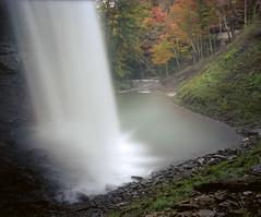Behind the Falls (Joe Iannandrea) Tags: ishootfilm color unicolorc41 fall autumn landscape waterfall longexposure mamiyarb67pros 50mmf45sekorc 10stopnd epsonv500 decewfalls morningstarmill nature kodakportra400