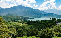 Sun Moon Lake (), Taiwan (IHNIWIMD) Tags: yuchitownship taiwanprovince taiwan tw nikon d7000 sigma 1750mm f28 mountains lake sum oon tea fields clouds blue clean water