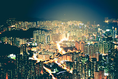 Over Kowloon from Lion Rock (camp_bell_) Tags: lion rock kowloon north hong kong east night light city cityscape buildings high rises skyscrapers multiple exposure hike pentax k10d smog
