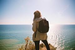 Lookout (cookedphotos) Tags: toronto canon 5dmarkii scarborough scarboroughbluffs cliff lake lakeontario autumn fall woman girl brunette lookout vsco