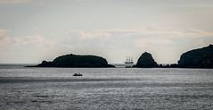 And the 3 Master came sailing in. (hillwalkinggirl) Tags: 3master coastpath landscape olympus918 saundersfoot scenery seascape tallship