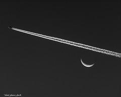 Chem Trail Over the Moon (that_damn_duck) Tags: chemtrail lunar nature crescentmoon aircraft airplane bw blackwhite