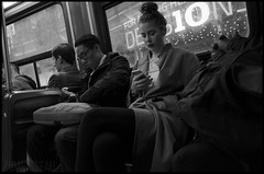 In the Streetcar (Phil Davisseau) Tags: blackandwhitephotography blackandwhite monochrome citylife publictransportation streetcar night toronto