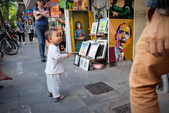 Baby meets Obama (PaulHoo) Tags: fujifilm x70 candid streetcandid 2016 streetphotography color people painting art baby kid youth humor obama barack hanoi vietnam asia