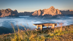 Sunrise at Helm (Andreas Neuburger) Tags: italien sexten sextenerdolomiten sã¼dtirol italy bank altoadige colorimage horizontal outdoors mountain tranquilscene tranquility traveldestinations helm nopeople rock