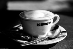 A Monday morning coffee (Jo Bowman) Tags: canon450d coffee cup biscuit spoon hot blackandwhite cafe