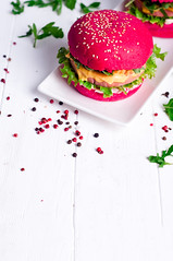 Tasty burger with, sausage, lettuce and mayonnaise served on a white plate (lyule4ik) Tags: burger food homemade streetfood rustic beef paper wooden lettuce copyspace prawn hamburger sausage spices gyros side meat mayo counter street kebab shrimp garlic style bbq meal bait bun delicious copy view snack restaurant barbecued rissole patty pulled diner lunch red nosh tzatziki refreshment country menu space sauce takeaway quick
