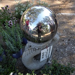 Mt. Dora, FL, Plant and Flower Show, Reflection Selfie (Mary Warren (7.6+ Million Views)) Tags: florida mtdorafl art sculpture sphere round circle mirror reflection selfie