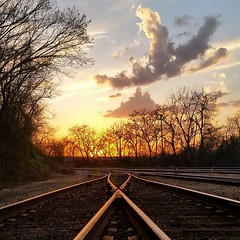 MEMENTO MORI (BLACK VOMIT) Tags: train tracks freight yard sunset stay gold golden hour richmond virginia rva va