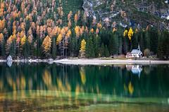 Braies Lake - Italy (Giorgino23) Tags: dolomiti dolomites color autumn italy colori reflex reflection mirror riflessi water longexposure nd110 canon 6d