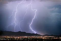 Fantastic Lightning Show Over Scottsdale City Lights (Striking Photography by Bo Insogna) Tags: arizona nature landscapes weather lightning thunderstorms storms monsoon night sky climate jamesinsogna scottsdale phoenix fountainhills maricopacounty