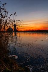 Winter Sunset in the Polder (ShutterBasset) Tags: netherlands polder windmill sunset ice reed water warm skies clear landscape sinterklaas pakjesavond nikon d5200 tokina
