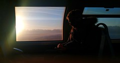 Commuting (smooth.bokeh) Tags: share inconnu commuting sunrise leverdusoleil stranger train