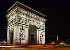 Arc de Triomphe (docoverachiever) Tags: night arcdetriomphe paris eiffeltower street neoclassical monument cars timeexposure france city traffic placecharlesdegaulle