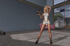Drink anyone? (Lisa Lowan) Tags: secondlife blonde wine waitress cowboyboots cowgirlboots