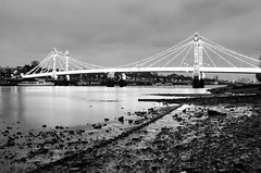 Albert Bridge B&W (rafpas82) Tags: albertbridge london londra chelsea lights bridge luci ponte lowtide mud leadinglines iperfocale hyperfocal d7000 nikon sigma1770 2016 uk granbretagna greatbritain water thames tamigi londonphotowalks