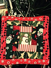 3082  Merry Christmas to all !!  May your days be merry and bright. (jjjj56cp) Tags: quilt quilted ornament christmas christmasornament 2016 logcabinpattern festive snowmen snowflakes pieced piecework fabric fabricarts quilting art originalcreation iphone jennypansing