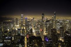 All the small puffs of steam (aerojad) Tags: chicago hancockbuilding 360chicago longexposure cityscape landscape night nightphotography light streetlight lighttrails lights horizon chicagoist