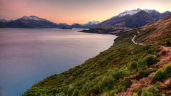 Glenorchy Glenorange (smithat) Tags: road newzealand sunrise otago queenstown curve glenorchy mountcreighton
