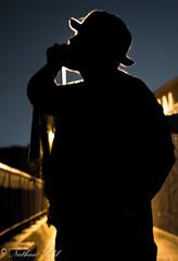 Silhouette (nate_s91) Tags: uk bridge friends light portrait urban london silhouette canon exposure unitedkingdom central selftaught canarywharf amateur underexposed canon550d