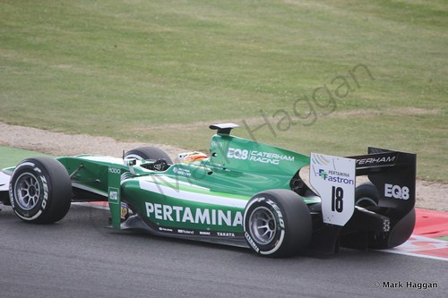 Rio Haryanto in his EQ8 Caterham car in qualifying in GP2 at the 2014 British Grand Prix