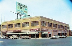 Fresno Motor Sales, Cadillac-Oldsmobile, Fresno CA, 1958 (aldenjewell) Tags: ca postcard cadillac fresno showroom 1958 motor sales dealership oldsmobile