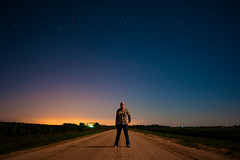 32 / 52 (Erin_Takes_Pictures) Tags: road moon selfportrait field night project dark stars landscape shower corn nebraska long exposure horizon full lincoln weeks meteor gravel 52 fiftytwo perseids