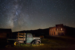 Why Did the Milky Way Cross the Road? (Jeff Sullivan (www.JeffSullivanPhotography.com)) Tags: bodie state historic park american ghost town wild west mining bridgeport eastern sierra california united states usa canon 5d mark iii photo copyright 2014 jeff sullivan august abandoned rural decay monocounty green truck vehicle auto ioof ioofhall dechambeauhotel visitcalifornia visitca visitmonocounty travel visiteasternsierra easternsierra caliparks bdsh 1940 ford commercial flatbed brick building dechambeau hotel
