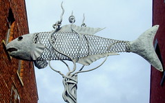Fish on a pole in Hartlepool (Tony Worrall) Tags: county street uk england urban sculpture fish art metal silver found photo high place north images pole made tall publicart items northeast quirky fishy hartlepool 2014tonyworrall