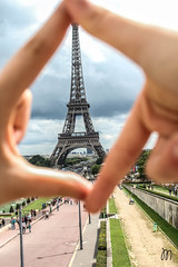 Eiffel Tower. (Mariasinmaas) Tags: paris france tower torre hand cloudy eiffel mano nublado lovely trocadero francia