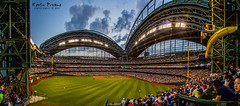 Miller Park - Milwaukee (Kevin Povenz) Tags: park blue sunset sky green field grass yellow wisconsin clouds lights baseball stadium sigma wideangle august panoramic milwaukee fans millerpark milwaukeebrewers outfield 2014 canon60d kevinpovenz