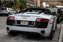 Audi R8 V10 Spyder (Hunter J. G. Frim Photography) Tags: city white spider colorado convertible denver spyder steam audi supercar v10 r8 larimer audir8v10spyder