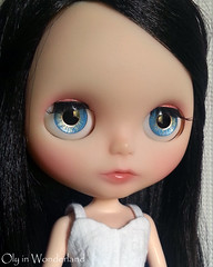 OOAK Hand-Painted Eye Chips for Blythe Doll - Sky Blue, Sea Green & Golden Sun Luminous Lines by Oly in Wonderland