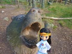 You do not fool me! You are not a big bad wolf! (Bebopgirl1969) Tags: statue wolf carving petiteblythe highlandwildlifepark runningdeer
