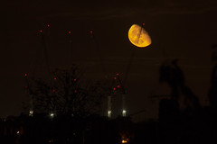 Moon rising beyond the cranes 20 Oct 2016 (Sculptor Lil) Tags: canon700d dslrsingleexposure london astrophotography moon moonrise sky waninggibbous