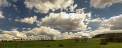 Partly cloudy (Lux Obscura) Tags: partly cloudy clouds fields countryside nature trees hill landscape