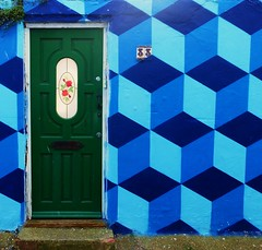 Green Door (teaselbrush) Tags: grafitti street art mural bright colours brighton east sussex england british seaside town coast coastal urban city north laine door doorway geometric geometry green blue