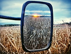 caught in the rearview... (BillsExplorations) Tags: rearview harvest tractor cornfield field mirror farm sunset clouds fall cold stormscape coldfront frost
