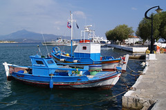 Small fishing boats (Steenjep) Tags: samos holiday ferie greece grkenland pythagoreio harbour port boat fishing fishingboat tools nets pier water blue