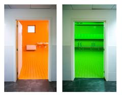 Colore (godelieve b) Tags: brussels bruxelles architecture intrieur inside green orange twocolours toilettes wc school cole colors nobodyisthere porte door